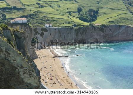 Cliffs of Zumaia, Basque Country (Spain) - stock photo