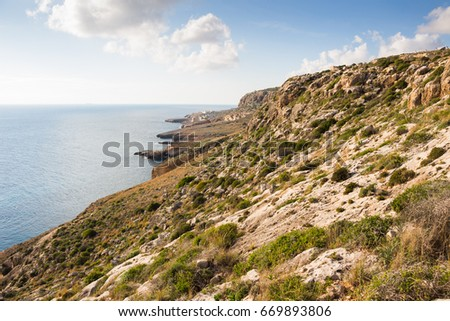 Cliffs on the southern coast of Malta
