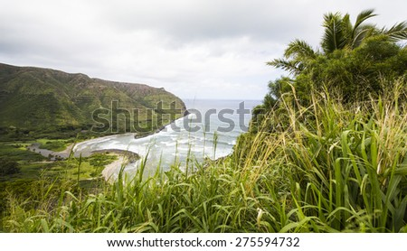 Cliffside Overview of a Bay in Molokai, Hawaii - stock photo