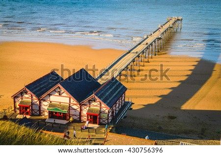 Clifftop view of Pier at Saltburn by the Sea, North Yorkshire, UK