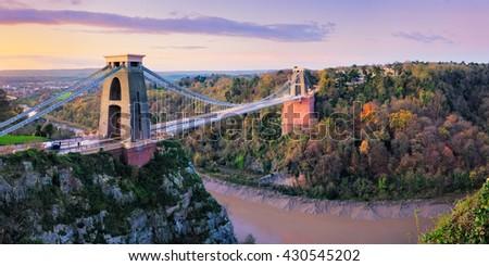 Clifton Gorge and the famous suspension bridge, Bristol, England.  - stock photo