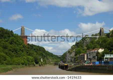 Clifton Suspension Bridge, Bristol, UK, under summer skies. - stock photo