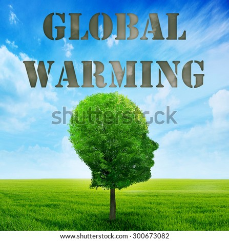 Climate Change Concept. Tree shaped as human face with gray cloud imprint of global warming above head - stock photo