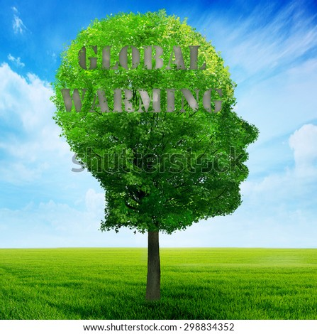 Climate Change Concept. Tree shaped as human face with gray cloud imprint of global warming on head