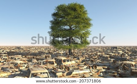 Climate change ecologycal disaster tree hope - stock photo