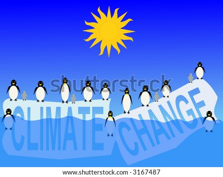 climate change with penguins on ice bergs illustration - stock photo