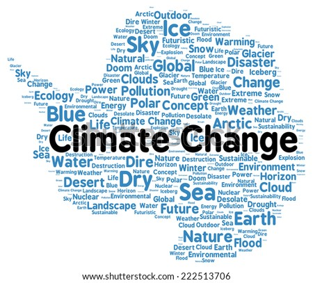 Climate change word cloud shape concept - stock photo