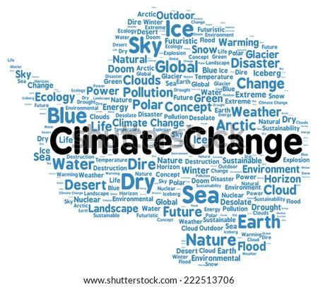 Climate change word cloud shape concept - stock photo