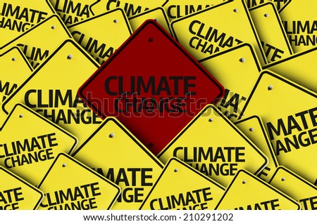 Climate Change written on multiple road sign  - stock photo