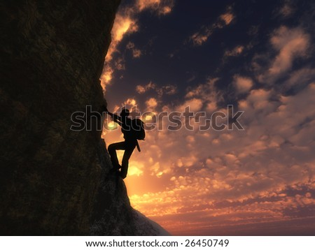 Climb up to success silhouette - stock photo