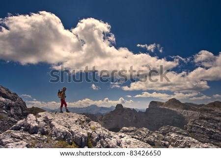 Climber enjoy mountain in Pyrenees - stock photo