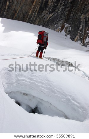 Climber looking for a pass between crevices, Himalayas