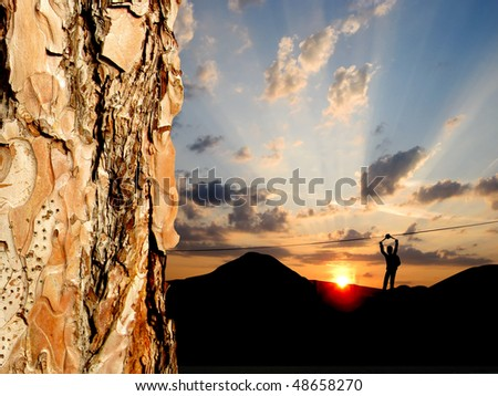 Climber on the rope - stock photo