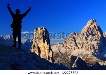 Climber's silhouette, Dolomite Alps, Italy - stock photo