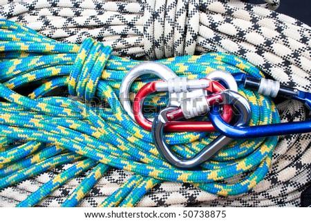 climber set on ropes - stock photo