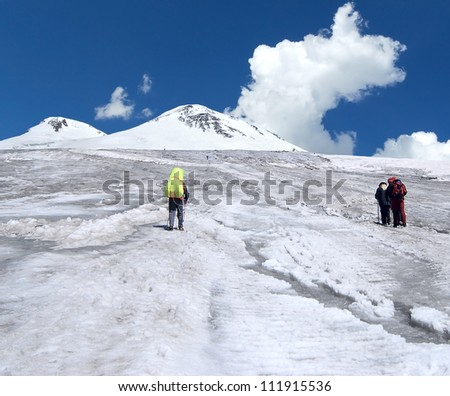 Climber team at the climbing in Caucasus mountains. Elbrus area.