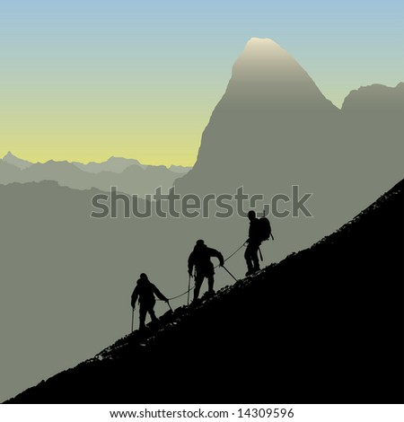 Climbers ascending a ridge at sunrise in the alps. Also available as vector. - stock photo