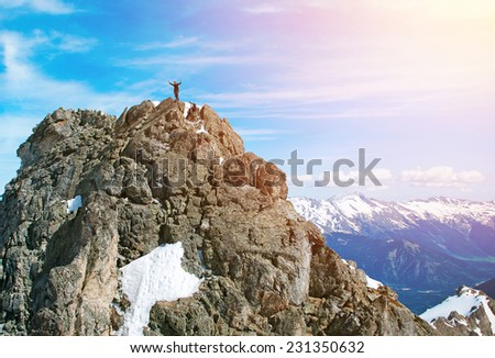 Climbers in Himalayas, Nepal - stock photo
