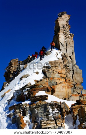 Climbers on Gran Paradiso Peak, Italy - stock photo