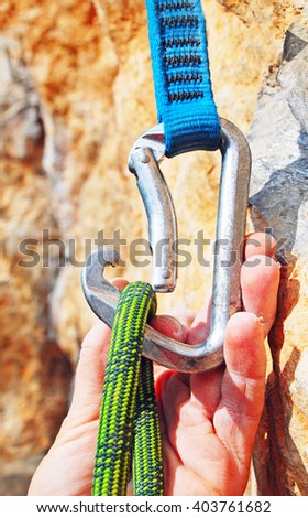 Climbers rope and quick-draws