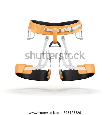 Climbing and mountainneering harness isolated on white background. Front view. 3d rendering. - stock photo