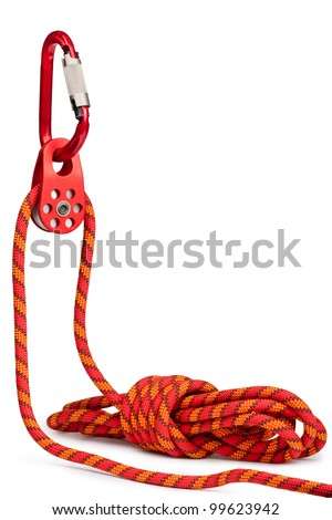 Climbing equipment - pulley, rope, carabiner. Isolated on a white. - stock photo