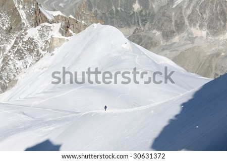 Climbing in Alps - stock photo