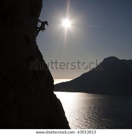 Climbing Kalymnos, Greece - stock photo
