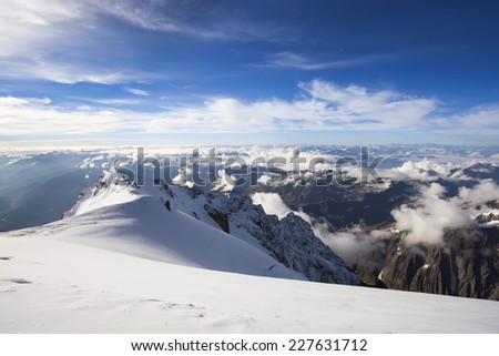 Climbing Mont Blanc in Alps, France
