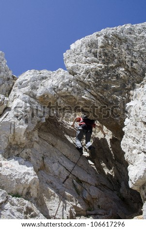 climbing mountaineer - stock photo