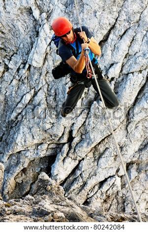 Climbing on Koenigsjodler Ridge, Austrian Alps, Europe - stock photo