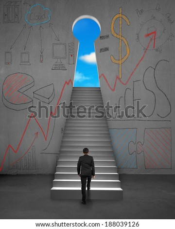 Climbing on stairs with business concept doodles on concrete wall - stock photo