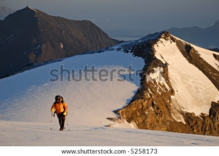 Climbing on the mountain and glacier - stock photo