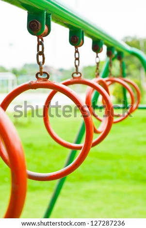 Climbing Rings In A Playground. - stock photo