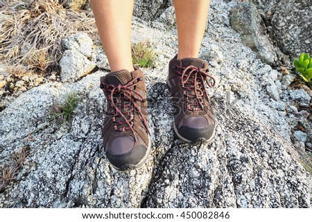 Climbing shoes for trekking in mountain , travel