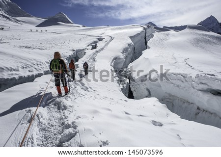 Climbing the Himalayas Island Peak  - Nepal - stock photo