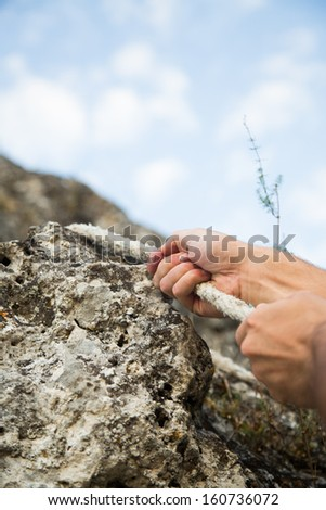 Climbing to the top, Mountain Peak. - stock photo