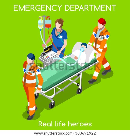 Clinic Accident Emergency Department Ambulance Service Infographic. First Aid Infographics. Adult Patient Stretcher with Clinic Nurse and Volunteers. Health Care 3D Flat Isometric People Illustration. - stock photo