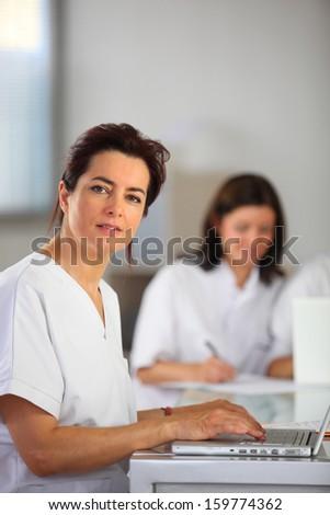 Clinic reception area - stock photo