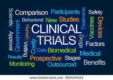 Clinical Trials Word Cloud on Blue Background - stock photo