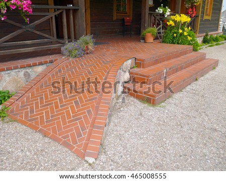 clinker wheelchair ramp stairs stock photo royalty free 465008555
