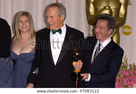 CLINT EASTWOOD & BARBRA STREISAND & DUSTIN HOFFMAN at the 77th Annual Academy Awards at the Kodak Theatre, Hollywood, CA February 27, 2005; Los Angeles, CA.  Paul Smith / Featureflash
