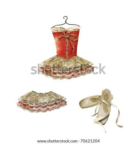 Clip art: ballet dress, skirt and slippers - stock photo