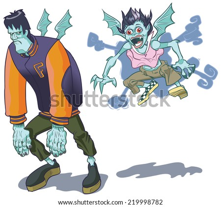 Clip art cartoon illustration of teenage Frankenstein monster and his vampire girlfriend. Vampy has given Frank a playful bite on the neck. Now he has wings too! Great for halloween themes.  - stock photo
