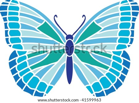 Clip art illustration of a blue butterfly.