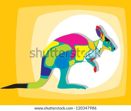 Clip art illustration of a colored kangaroo - stock photo