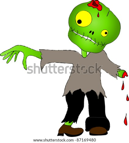 Clip art illustration of a cute zombie boy.