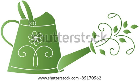 Clip art illustration of a silhouette of a watering can icon with swirls and leaves.