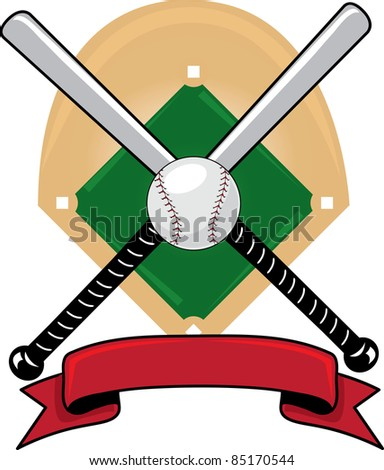 Clip art illustration of a  sports design with baseball bats, a ball and a banner over a baseball diamond. - stock photo