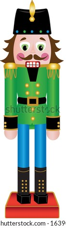 Clip art illustration of a wooden Nutcracker Christmas figurine wearing a green jacket.